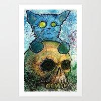 Blue Cat on a Skull Art Print
