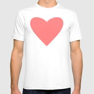Coral Heart Mens Fitted Tee White SMALL