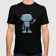 Waving Robot SMALL Black Mens Fitted Tee