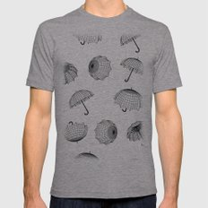 seamless rainy pattern with umbrellas and raindrops Mens Fitted Tee Athletic Grey SMALL