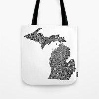 Typographic Michigan Tote Bag
