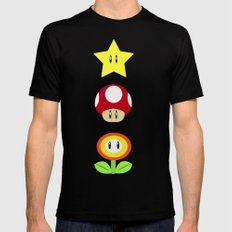 Super Mario Bros Star, Mushroom and Flower Black SMALL Mens Fitted Tee