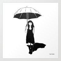 Umbrella girl Art Print