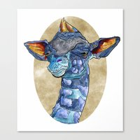 Zen Giraffe - Watercolour Canvas Print