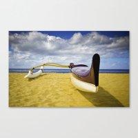 Outrigger canoe on beach Canvas Print