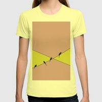 Birds On A Wire Womens Fitted Tee Lemon SMALL
