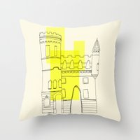 Yellow Castle Throw Pillow