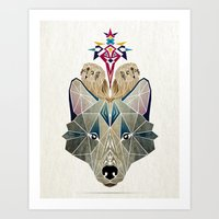 wolf and owls Art Print