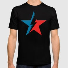 Bowie Star white Mens Fitted Tee Black SMALL