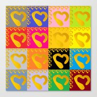 Gold Hearts On Colorful … Canvas Print