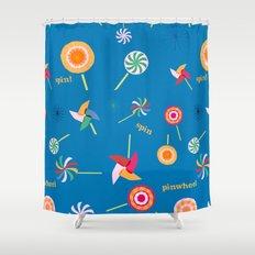 Spin! Pinwheel Spin! Shower Curtain