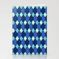 Big Harlequin Diamonds: Blue Multi Stationery Cards