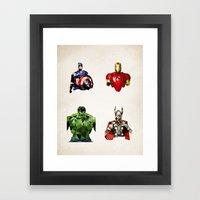 Polygon Heroes - Avengers Framed Art Print