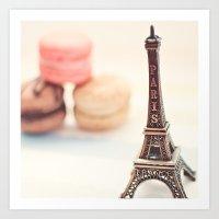 Macaron And Mini Eiffel … Art Print