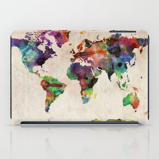 World Map Urban Watercolor iPad Case