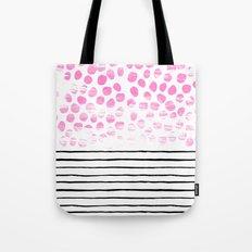 Dot Stripe hot pink black and white minimal abstract painting pattern trendy boho urban bklyn art Tote Bag