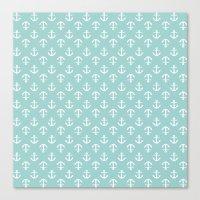 Mint Anchors Pattern Canvas Print