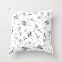 Black Watercolors Throw Pillow