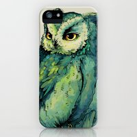 iPhone 5s & iPhone 5 Cases featuring Green Owl by Teagan White