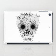 Skull Flowers grey - white iPad Case