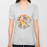 Collage of Poppies and Pattern Unisex V-Neck