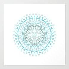 Turquoise White Mandala Canvas Print