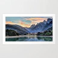 Mountain & Lake Sunset Art Print