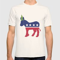 Wheres the Party at Democrat Mens Fitted Tee Natural SMALL