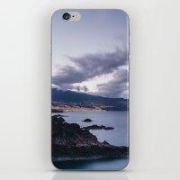 Volcanic coastline and lights of Santa Cruz at twilight. La Palma, Canary Islands. iPhone & iPod Skin