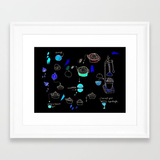 Supersaft = superjuice gives you super powers Framed Art Print