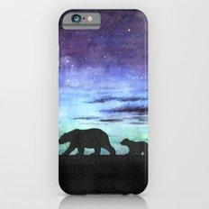 Aurora borealis and polar bears (black version) Slim Case iPhone 6s