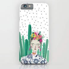 Frida Kahlo. Art, print, illustration, flowers, floral, character, design, famous, people, iPhone 6 Slim Case