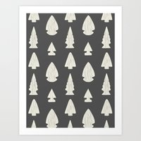Arrowheads-Dark Gray & C… Art Print