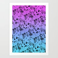 Ombre Feathers Art Print