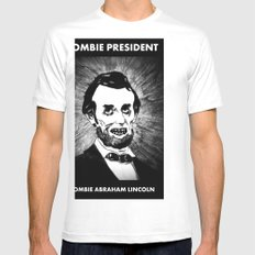 16. Zombie Abraham Lincoln  Mens Fitted Tee SMALL White