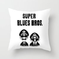 Super Blues Bros. (Black… Throw Pillow