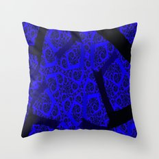 Cobalt Blue Fractal Abst… Throw Pillow