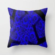 Cobalt Blue Fractal Abstract  Throw Pillow