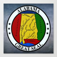 Alabama State Seal Clock… Canvas Print