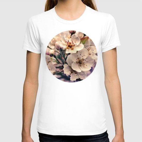 Blossoms at Dusk - vintage toned & textured macro photograph T-shirt