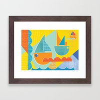 3 Sail Boats At Sea 2 Framed Art Print