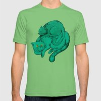 Cat Friends Mens Fitted Tee Grass SMALL