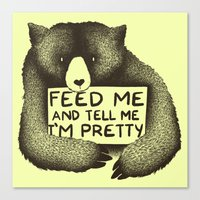 Feed Me And Tell Me I'm Pretty (Yellow) Canvas Print