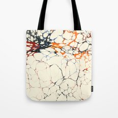 Marble Cream Blue / Orange Square # 1 Tote Bag