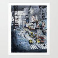 Time square - New York City - Illustration watercolor painting Art Print