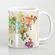 World Map Floral Mug
