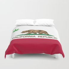 California Republic state flag with green Cannabis leaf Duvet Cover