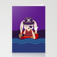 Pirate Bunny Needs Coffee Stationery Cards