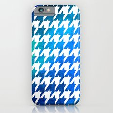 Houndstooth bright blue watercolor Slim Case iPhone 6s