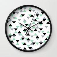 Triangles Mint Grey Wall Clock